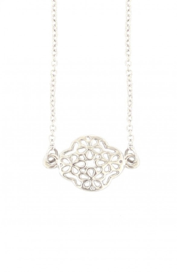 Metal-Clover-Necklace-Zilver