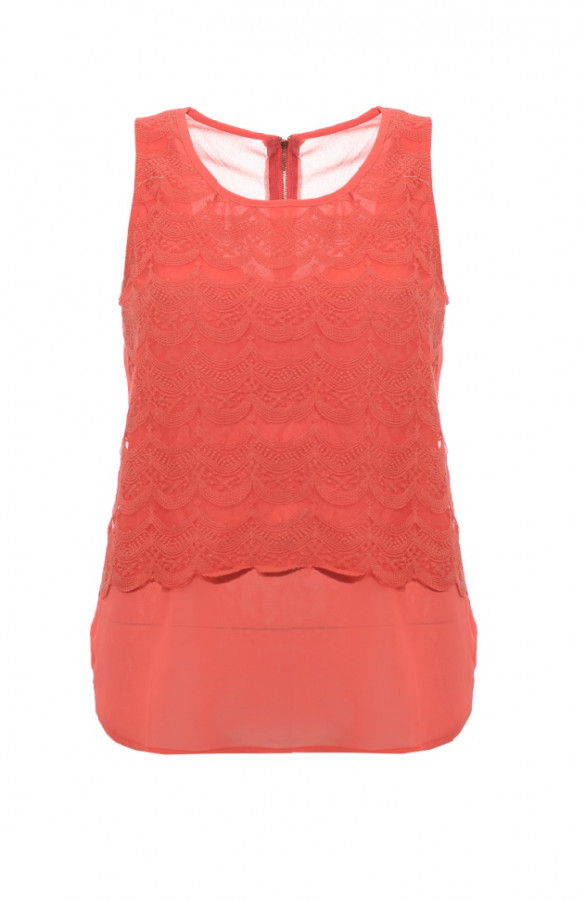 Lace-Top-Koraalrood