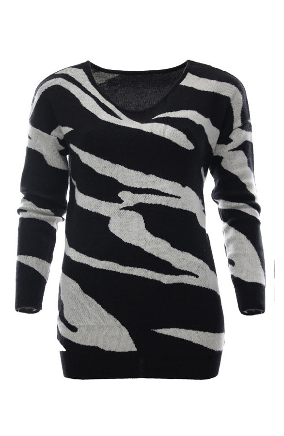 Zebra-Sweater-Black