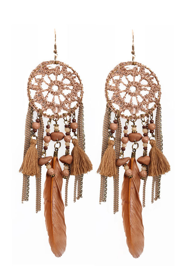 Dreamcatcher-Oorbellen-Bronze