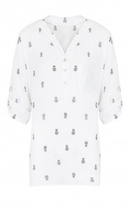 Ananas-Pailletten-Blouse-Wit