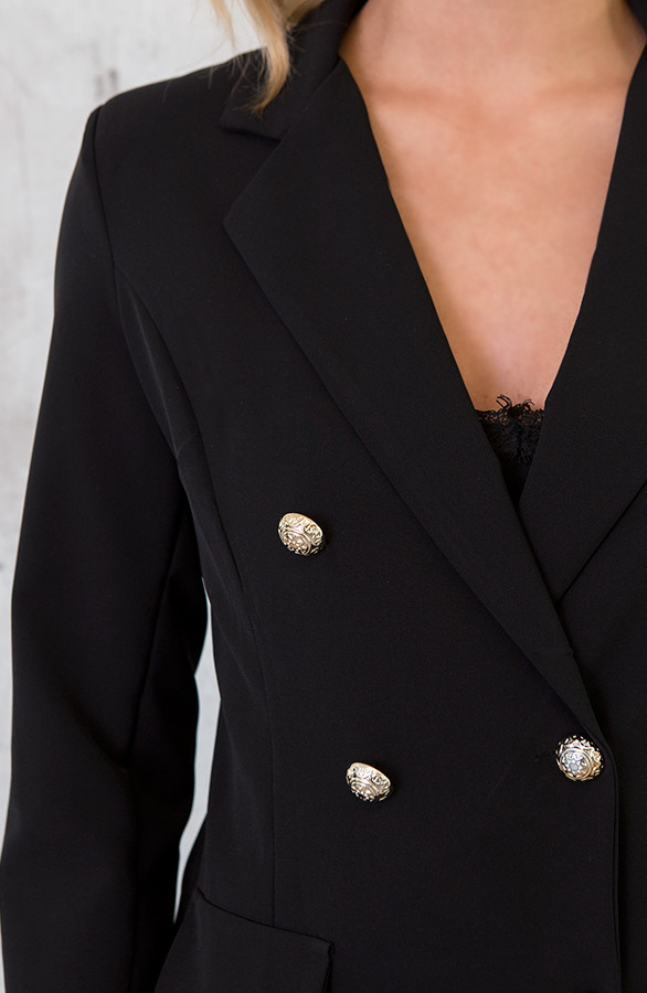 Lange Blazer Button Zwart