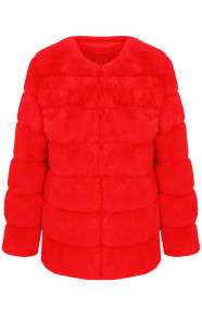 Fake-Fur-Jas-Leer-Rood