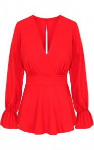 Strik-V-Blouse-Rood-1