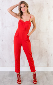 Jumpsuit-Dames-Rood