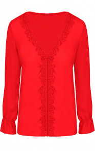 Blouse-Kant-Rood