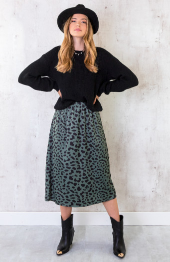 Cheetah-Satin-Rok-Legergroen-1