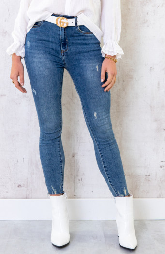 Skinny High Waisted Jeans Blauw