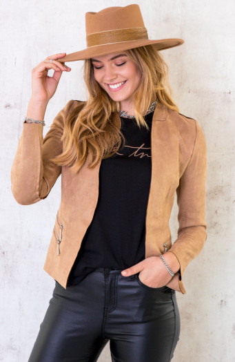 Suede Blazer Met Rits Taupe