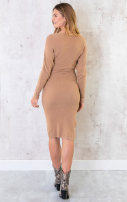 Stretch-Omslag-Jurk-Camel-5