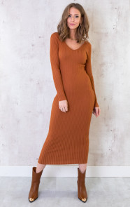 Stretch-Rib-Jurk-Cognac-1