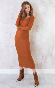 Stretch-Rib-Jurk-Cognac-4