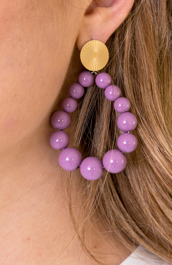 Luxury Beads Oorbellen Lila