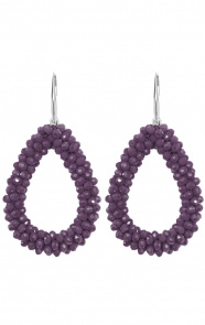 Oval-Purple-Oorbellen