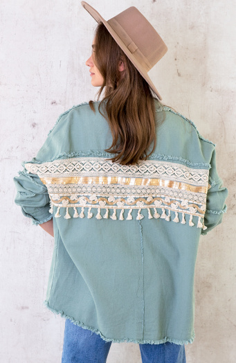 Ibiza Tassel Jacket Mint