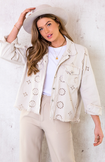 Denim Embroidery Jacket Beige