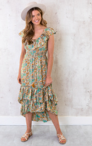 Maxi-Paisley-Jurk-Ruches-Turquoise-5