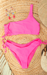 One-Shoulder-Bikini-Neon-Pink