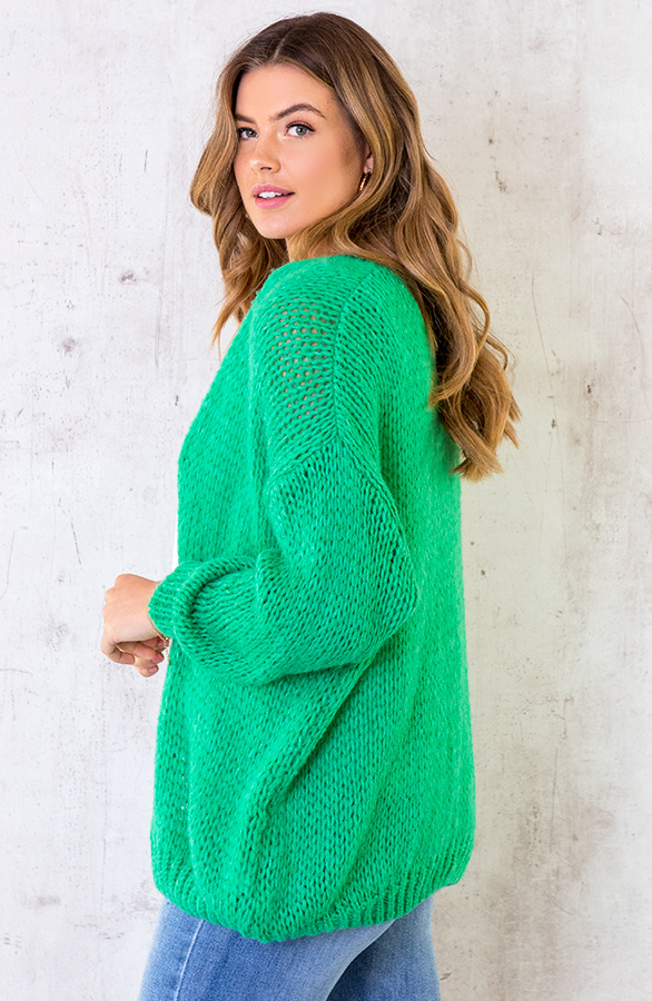 Oversized-Knitted-Vest-Bright-Green-4