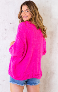 Oversized-Knitted-Vest-Neon-Pink-1