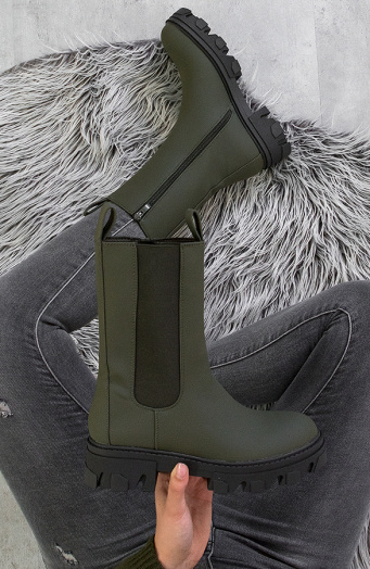 Long Chelsea Boots Army