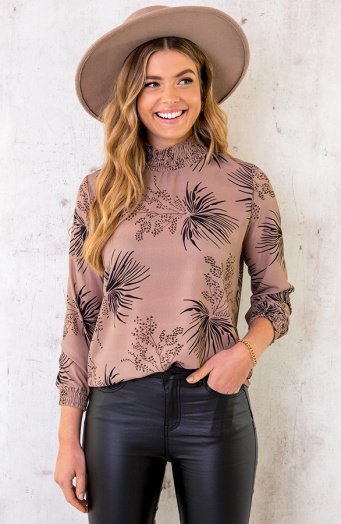 Col Blouse Leaves Camel