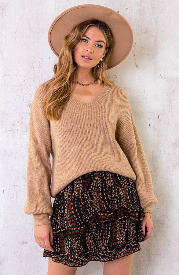 Essential-Knitted-V-Sweater-Camel-1