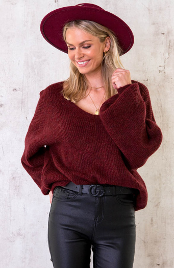 Knitted V-Sweater Bordeaux